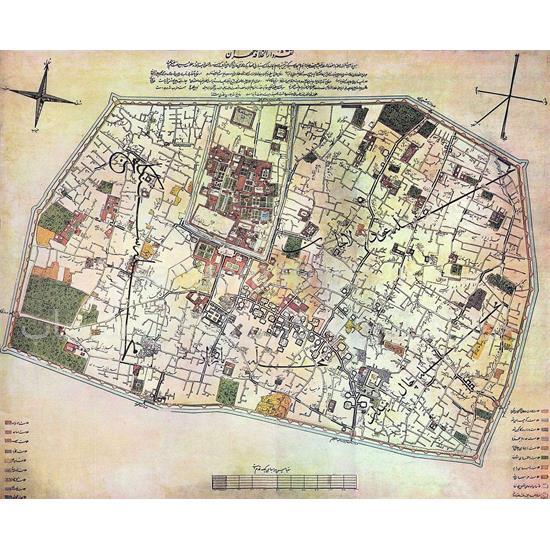 نقشه-تهران-در-دوره-قاجار-(درالخلافه)-۱۲۷۵-هـ-ق